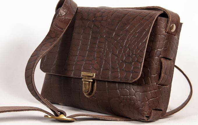 Festivaltasje darkbrown_croco